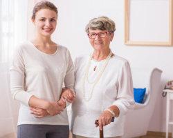a caregiver and senior woman